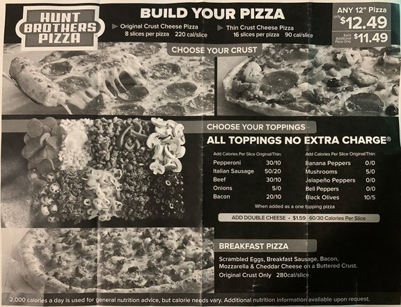 Hunt Brothers Pizza Shop ~ Fresh to order and delivered