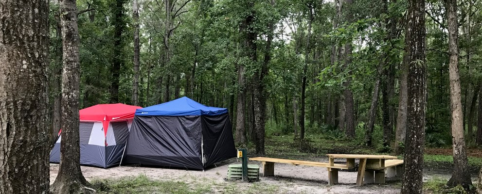 Upgraded Tent site with water & electric, wifi and tent benches. Close to restroom, building & pavilion. Grills available upon request.