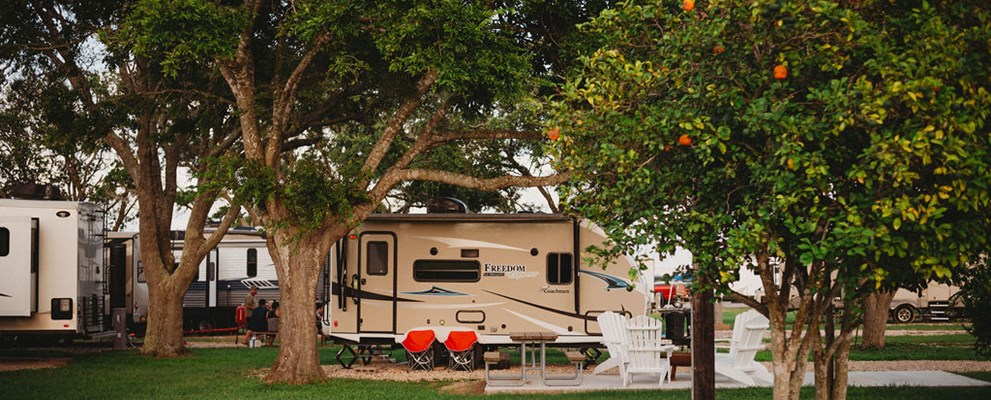 Interior back-in Patio Site makes for a relaxing camping trip with a spacious yard!