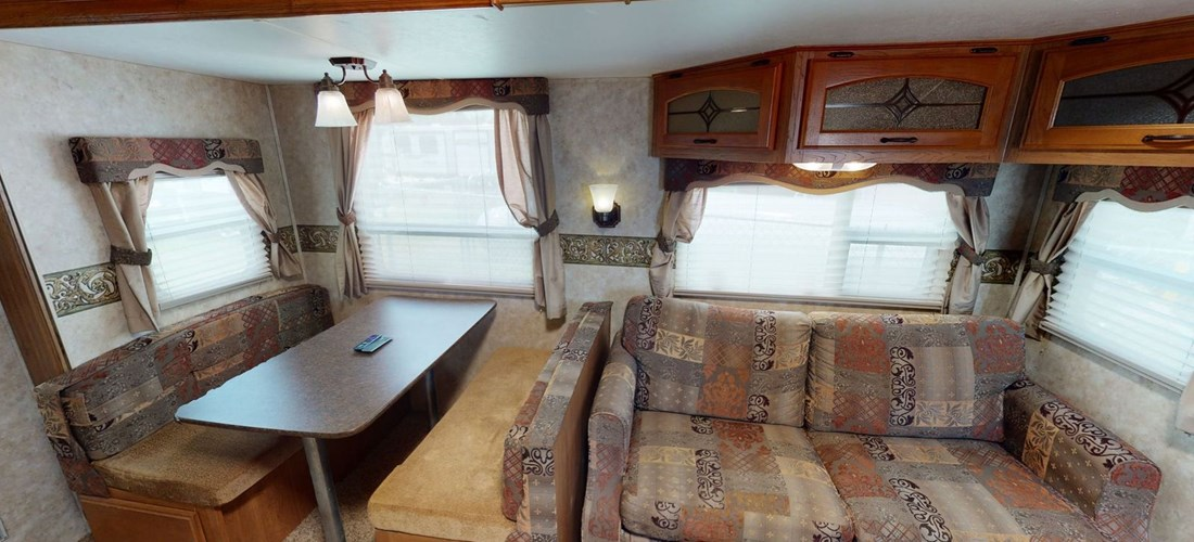 Dining and living area in rental RV