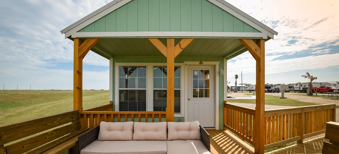 Our beautiful one bedroom cabin features a nice patio with beautiful bay views!
