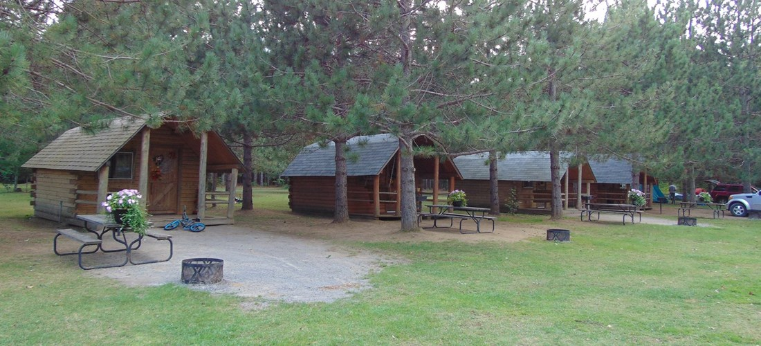 Camping Cabins in the Pines with a beautiful view of the Lake.  Sleeps 4. Electricity and mini-fridge is included
