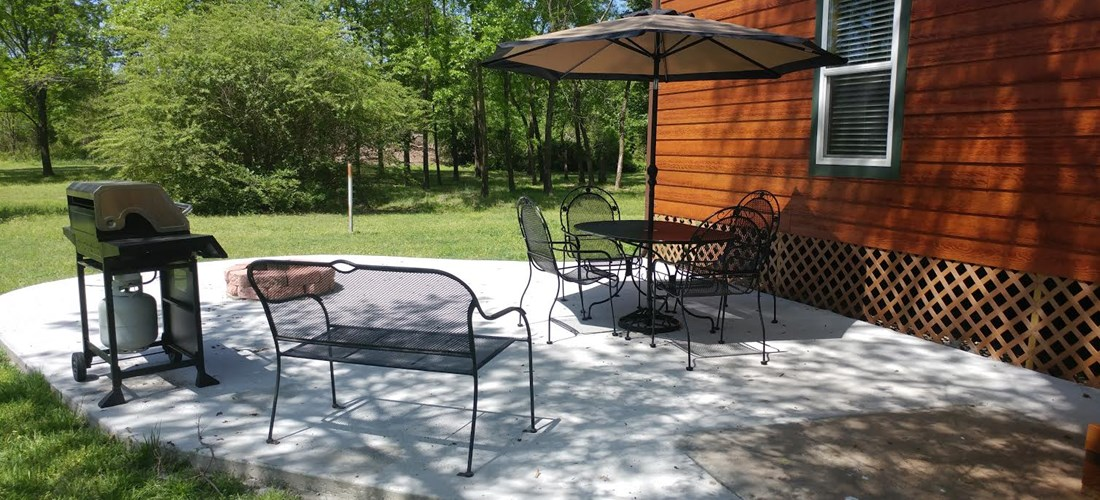 Spacious patio with everything but the food!