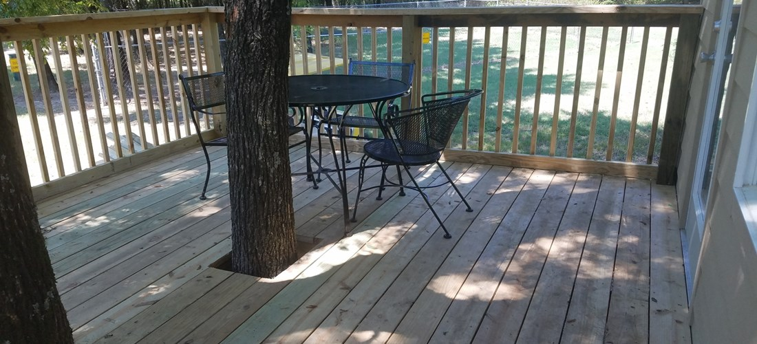 Enjoy breakfast on your private, shaded deck.