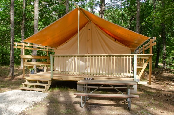 NEW for 2019! Our chic safari tents are perfect for a glamping getaway.