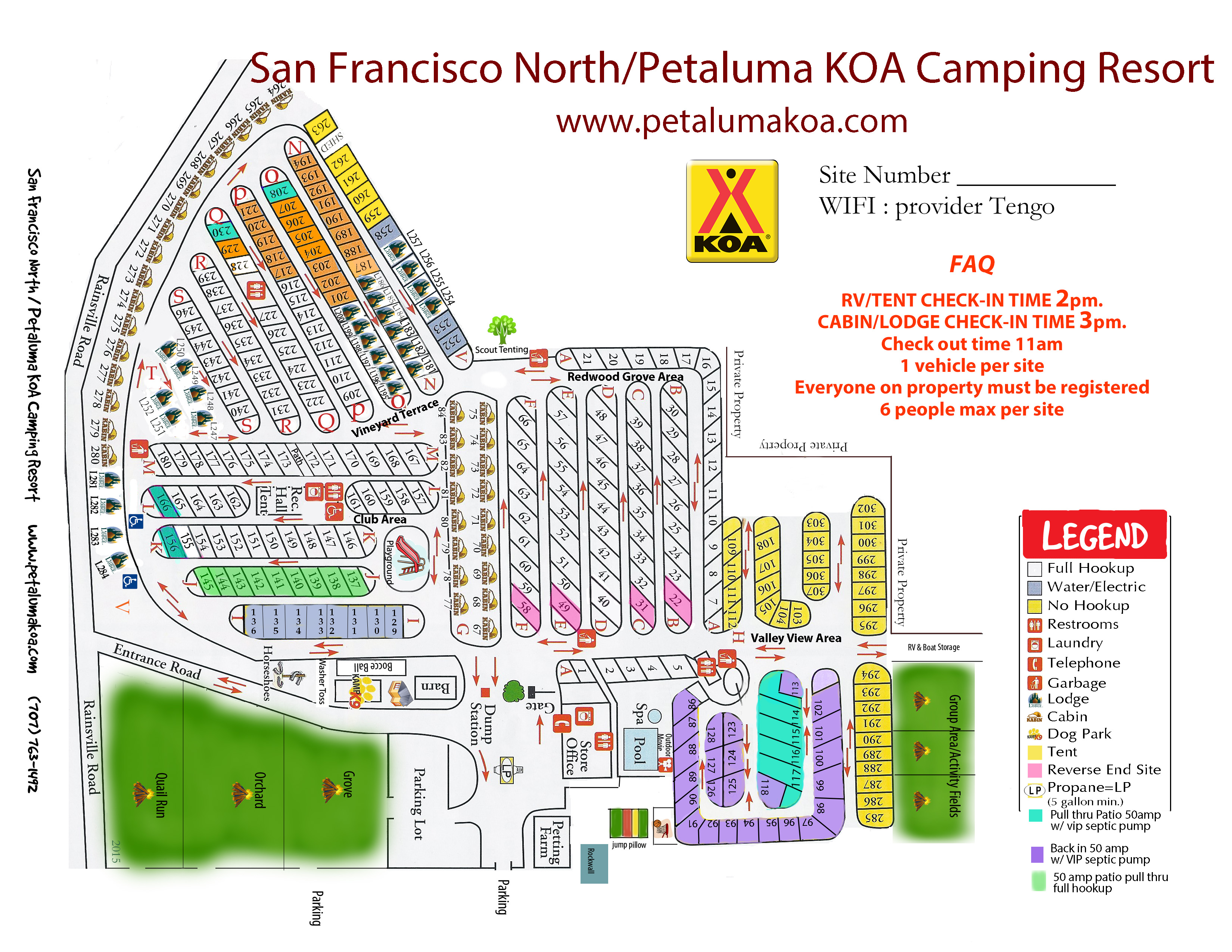 Campgrounds Usa Map.Petaluma California Campground San Francisco North Petaluma Koa