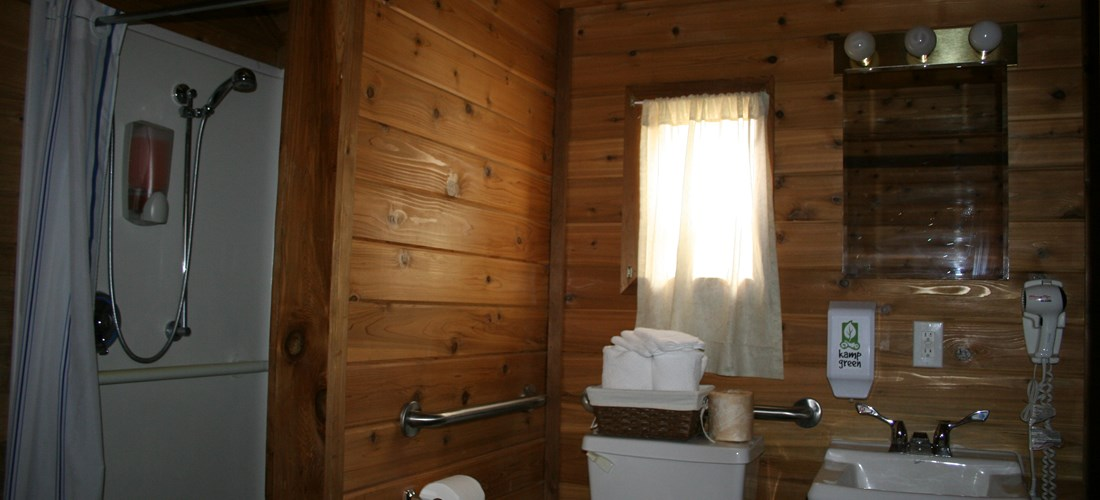 The large bathroom is handicap accessible.