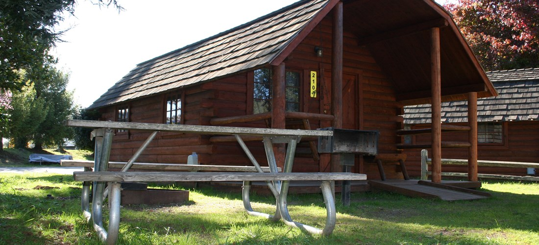 Our premium 2 room Camping Cabins have great outdoor space with a fire ring.