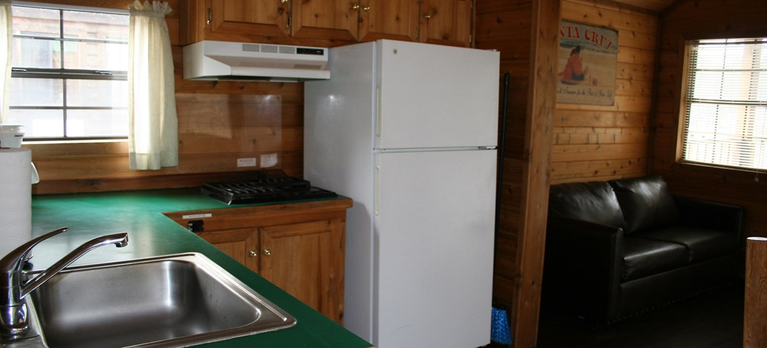 This Deluxe Cabin features a stovetop with a full size fridge.