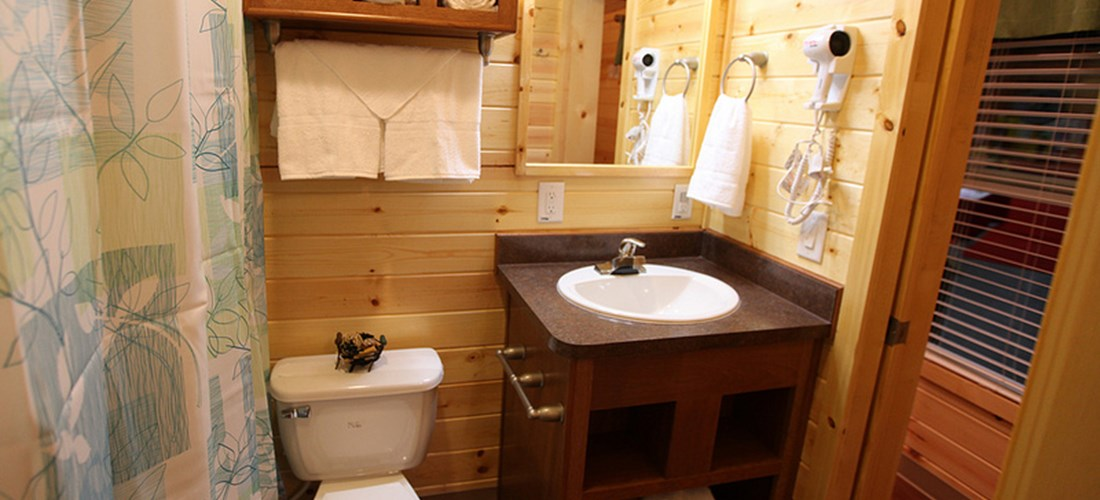"The full bathroom takes the ""roughing it"" out of camping."