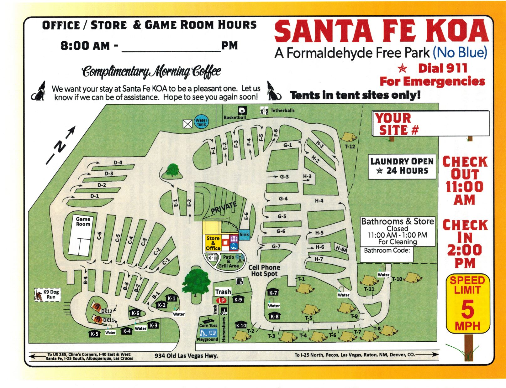 Santa Fe New Mexico Campground Map Santa Fe Koa