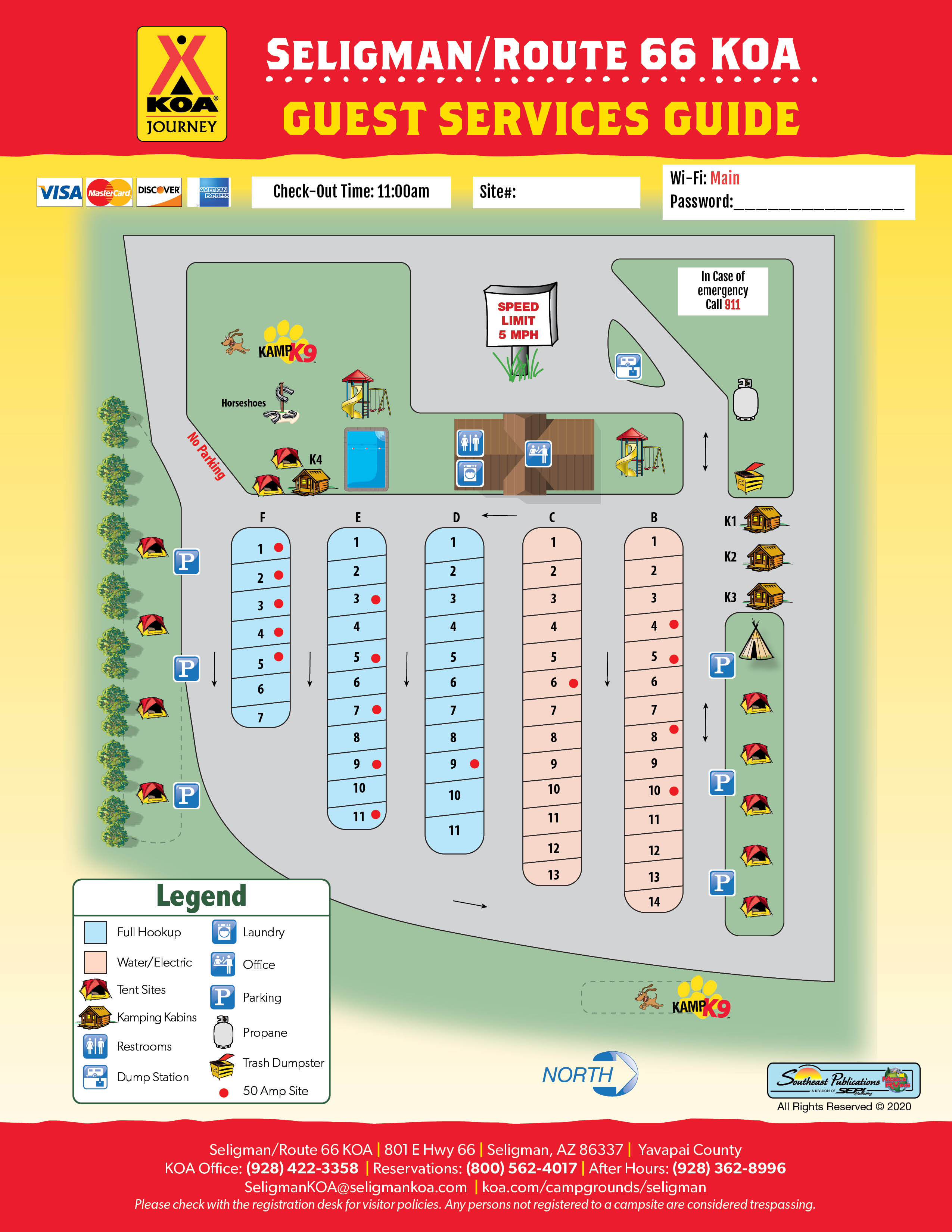 Seligman, Arizona Campground Map | Seligman / Route 66 KOA