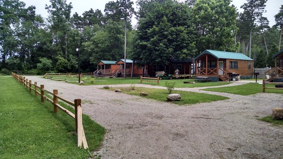 Parking and access road to the deluxe cabins