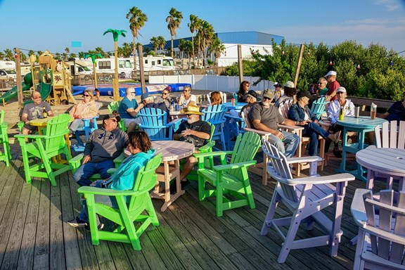 Our bayside Sunset Deck, where it's always happy hour