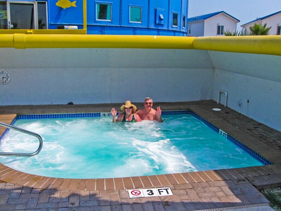 Soak in one of the largest hot tubs on the island