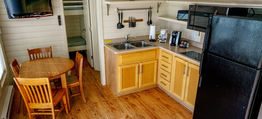 Loft cabins have a nice kitchen