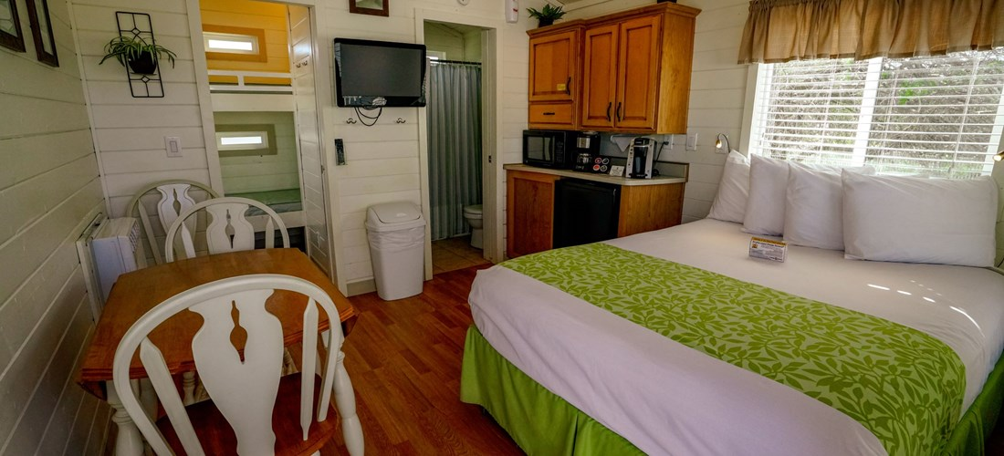 Our comfy Studio Cabins have a queen bed, bunk beds, mini-fridge, microwave, and television.