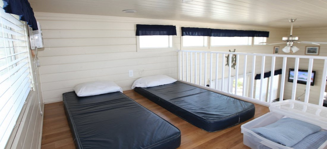 Loft cabins have an upstairs loft with mattresses for the kids