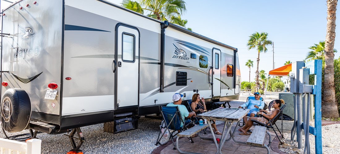 rv back in with Koa patio NEW