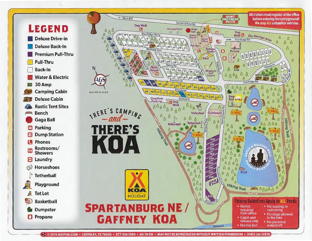Gaffney, South Carolina Campground | Spartanburg NE / Gaffney KOA on fll map, slc map, route map, coarsegold california map, zip code map,