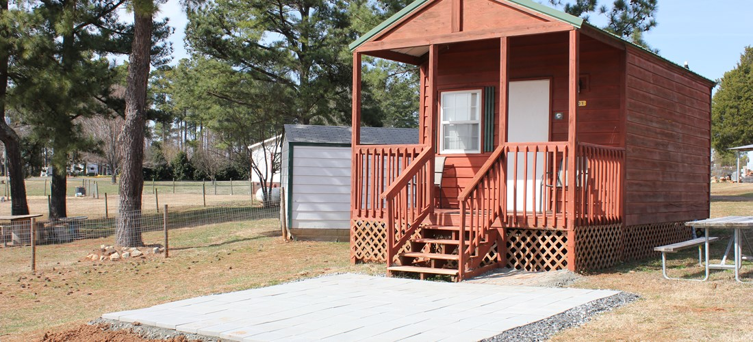 Cabin (w/ bathroom & patio) sleeps 4