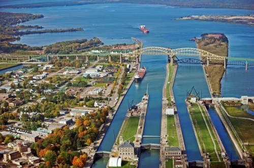 The Sault Locks in Sault Ste Marie - one hour away