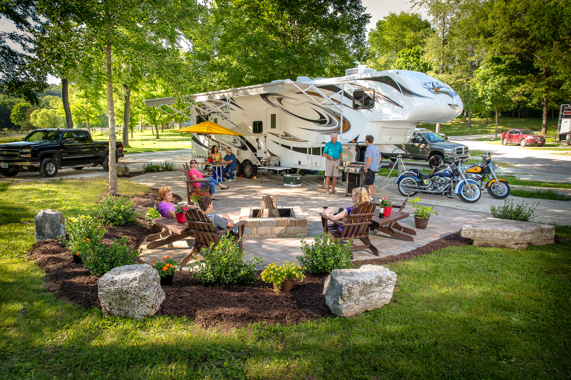 New Deluxe Patio RV Sites With Fire Rings And Gas Grills