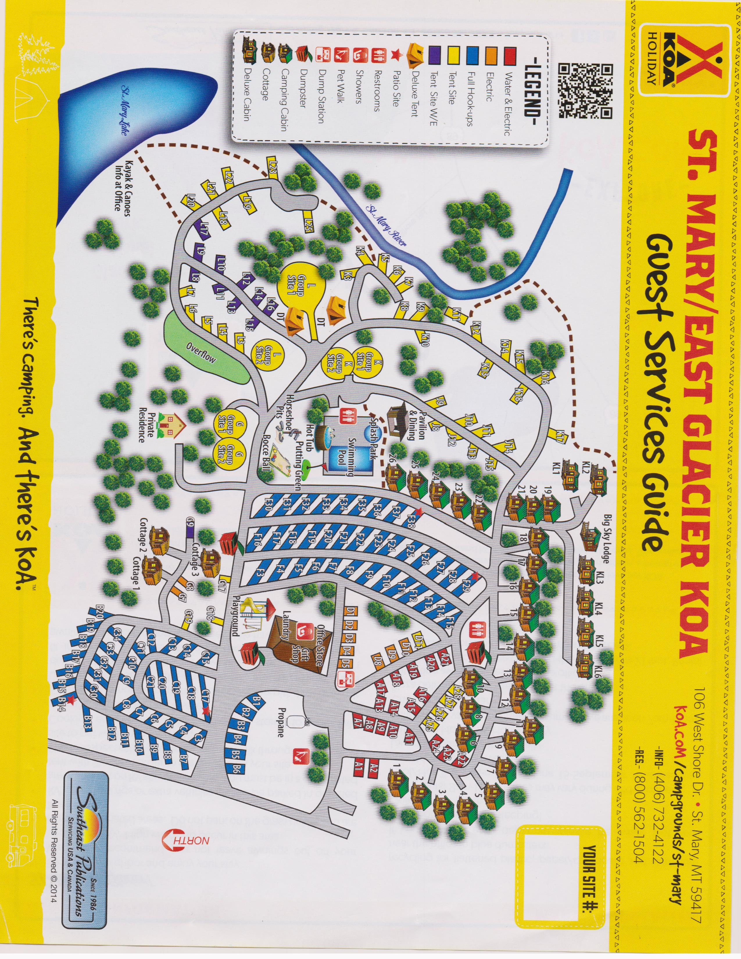 St Mary Montana Campground St Mary East Glacier KOA - Map of koa campgrounds in us