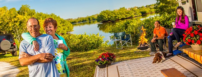 Enjoy beautiful RV sites along the mangrove-lined Long Bayou.