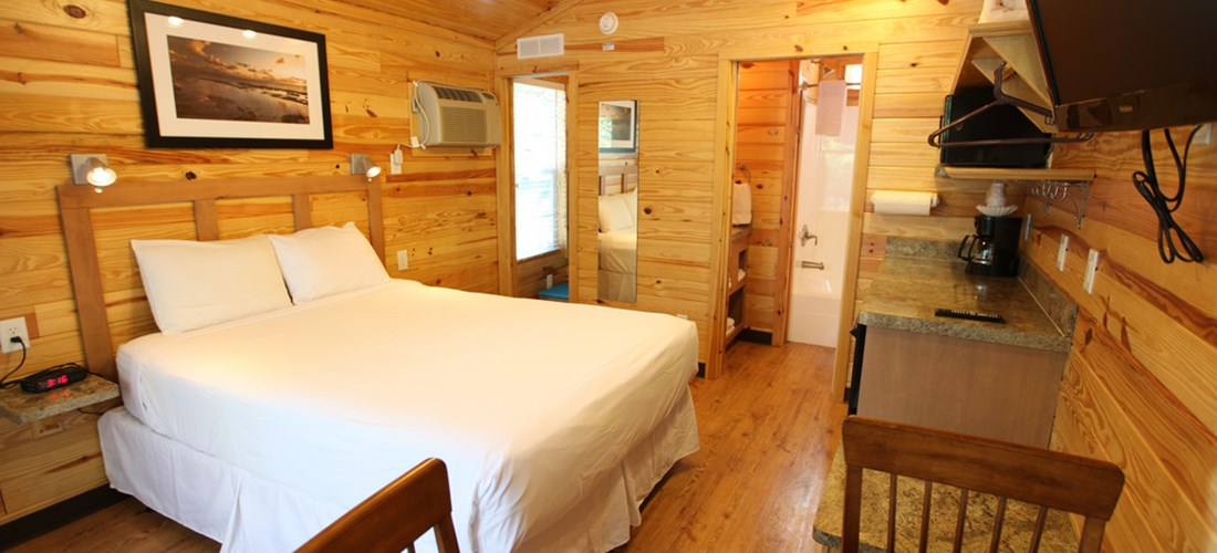 These comfy cabins are perfect for smaller groups.