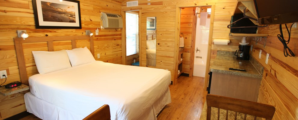 Make yourself at home in these comfy cabins.