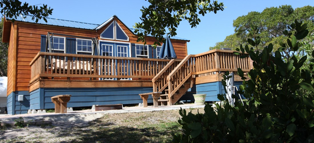 Great views of the water from the deck or patio on these cabins.