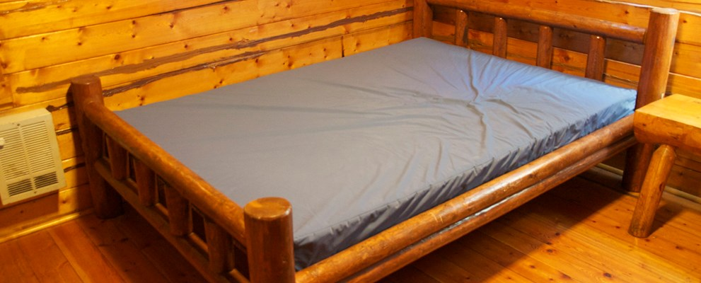 Double Bed in rustic cabin