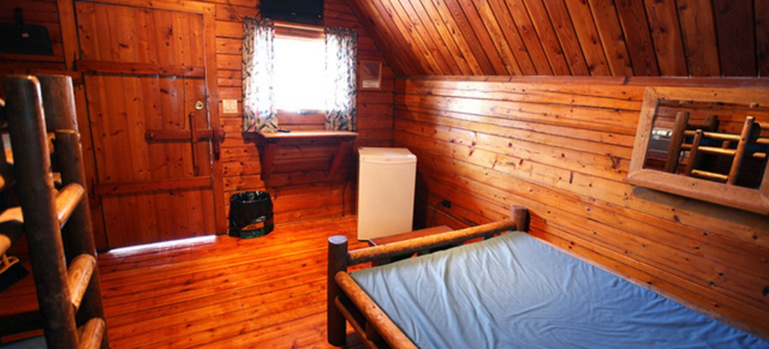 Single room camping cabin interior-1