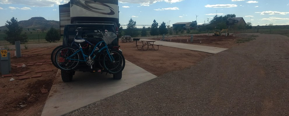 Our Newest Sites, Concrete Pads, Full Hook-ups all new, Satellite Friendly, or Cable TV, Located in back of the park with best views of the Tucumcari MT, (landscaping for follow soon)