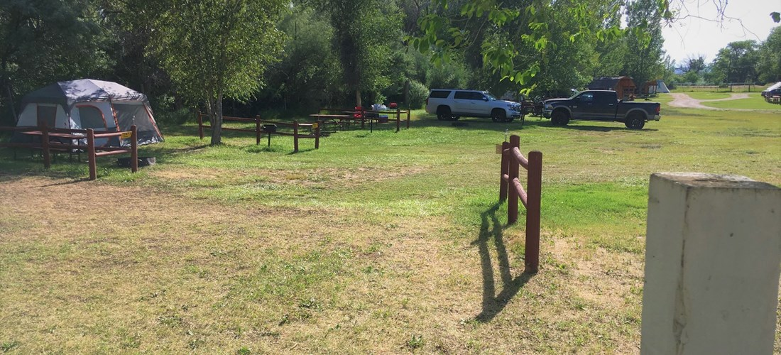 The corner of our lower meadows with tent sites and Camping Cabins.