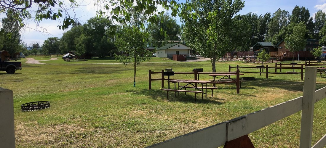 Nice view from the corner of the tent sites. Plenty of space in the field to play ball games or to hang out.
