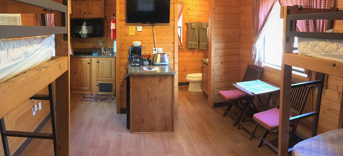 Small sitting area inside of cabin. More seating and pic nic table on porch and patio provide ample space and seating.