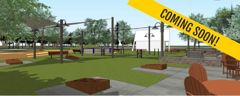 Our new pocket park will feature corn hole, ladder ball and places for the family to gather!
