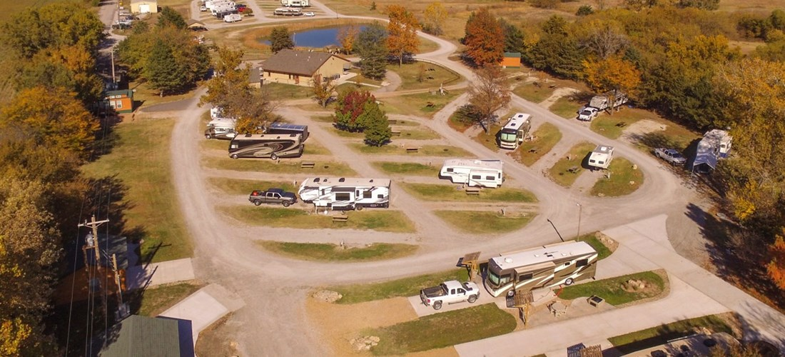 Overhead shot of all RV sites