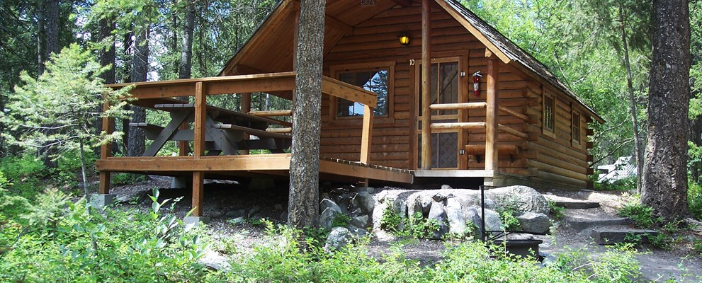 two room deck camping cabin