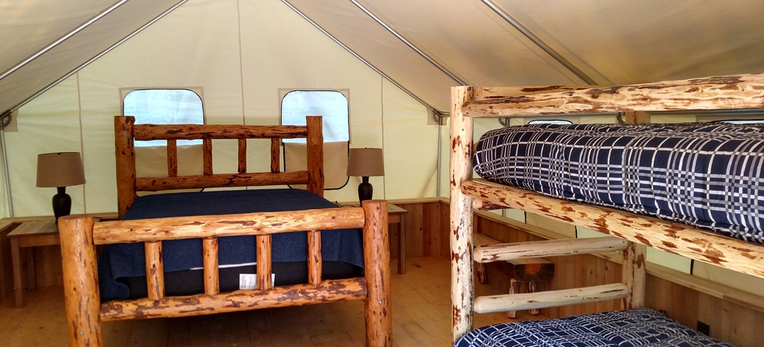 Comfortable queen bed & extra long twin bunk beds