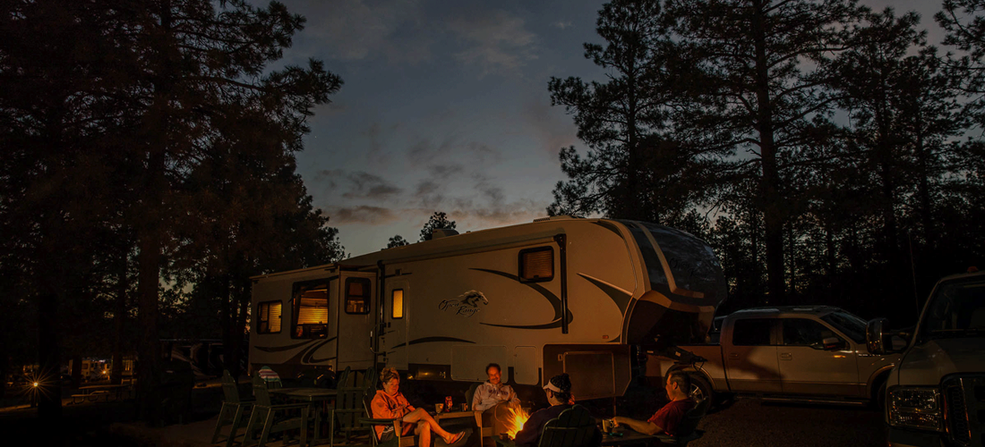 Deluxe Patio RV Site - Small at Night with Campfire