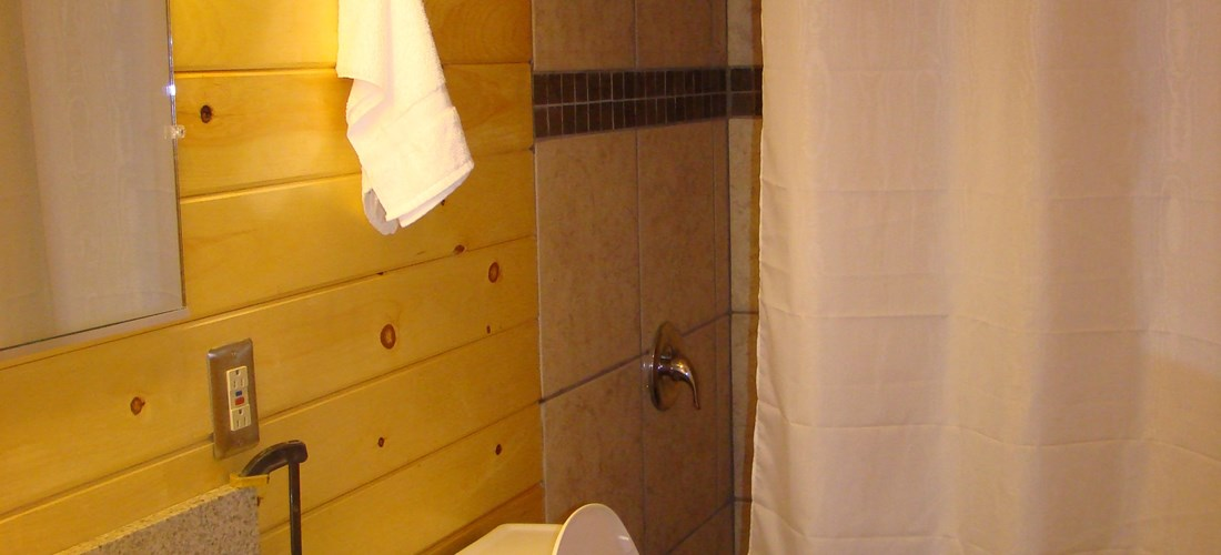 The Lodge includes a bathroom for the entire family to use.