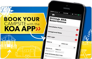 Book your campsite with the KOA App